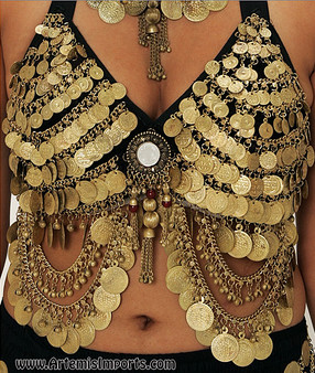 Belly Dance Bra ~ Tribal Coin Bra with Mirror Medallion in Gold Tone