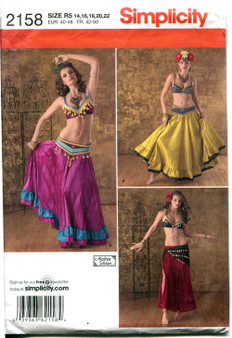 Costume Pattern for Belly Dancers - Simplicity #2158 - Sizes R5 14, 16, 18, 20, 22