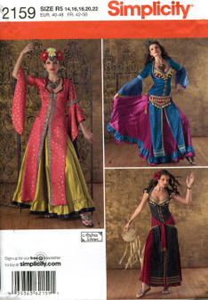 Costume Pattern for Belly Dancers - Simplicity #2159 - Sizes R5 14, 16, 18, 20, 22
