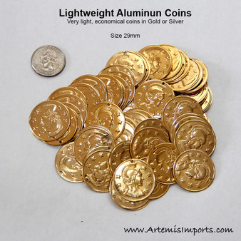 Belly Dance/Tribal Coins for Costuming - Lightweight Aluminum in Gold or Silver Tone