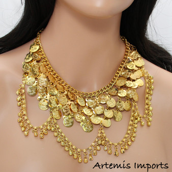 Belly Dance Necklace With Bell Loops & Coins in Gold
