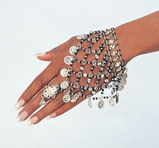 Belly Dance Slave Bracelet With A Delicate Design & One Ring - Gold or Silver