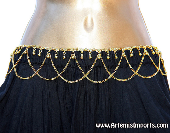 Belt with Loops and Binty Bells - Gold Tone