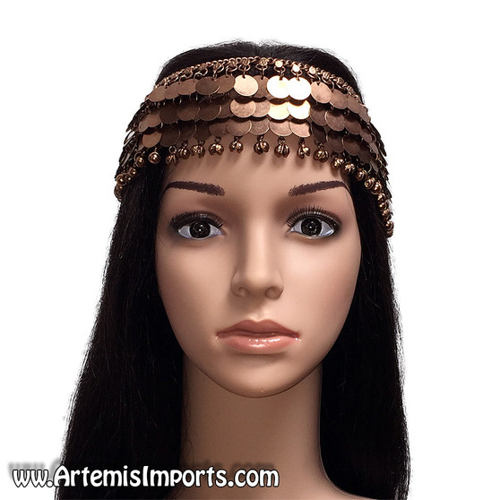 Belly Dance Head Piece With Copper Tone Coins