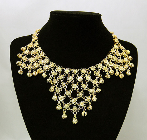 Belly Dance Necklace ~ Linked Filigree Design with Bells - Gold Tone