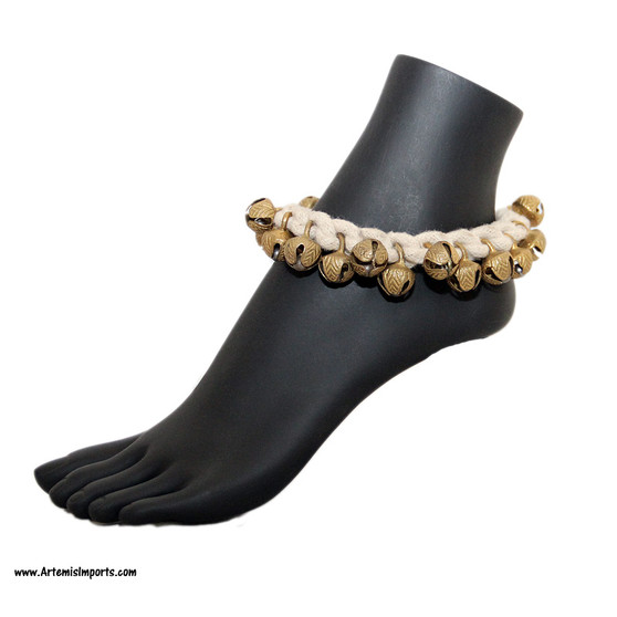 Bell Dance Anklet On Natural Color Cord with Large Bells.