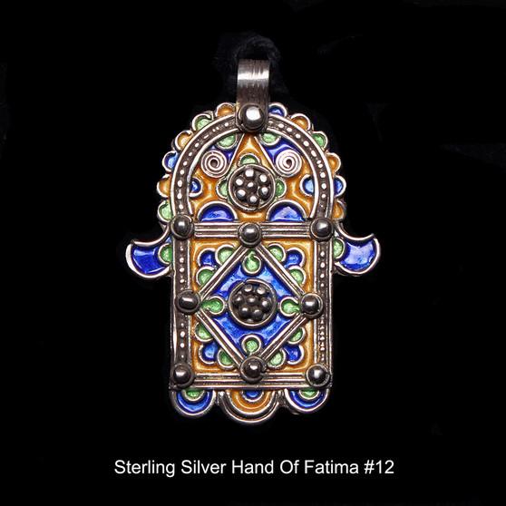 Hand of Fatima, Hamsa – Tuareg Sterling Silver Enamel Pendant From Morocco #12