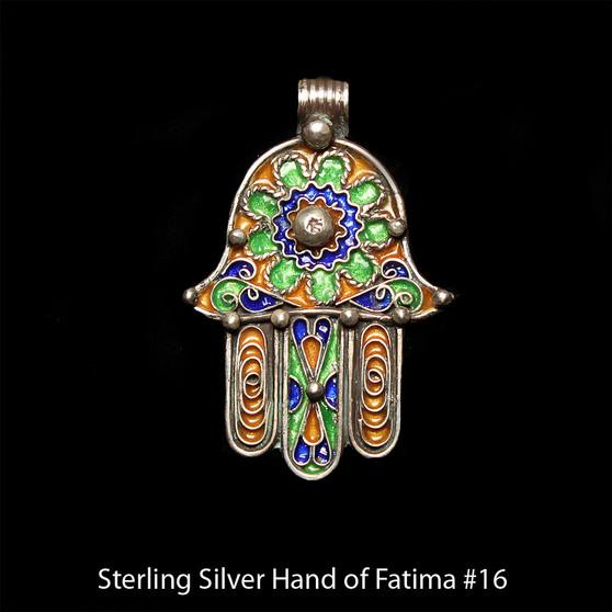 Hand of Fatima, Hamsa – Tuareg Sterling Silver Enamel Pendant From Morocco #16