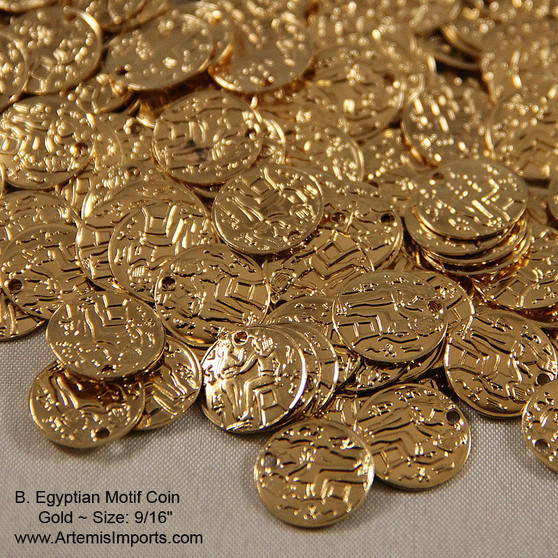 """Belly Dance / Tribal Coins for Costuming- Egyptian Motif Coin, 9/16"""", Gold or Silver.  DIY, use these coins to create your own belly dance costume with gold coins."""