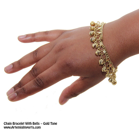 Chain Bracelet With Bells in gold to help you accessorize your belly dance costume.