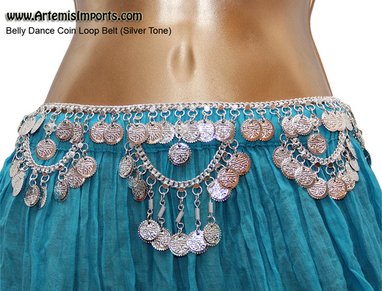 Belly Dance Coin Loop Belt, SilverTone