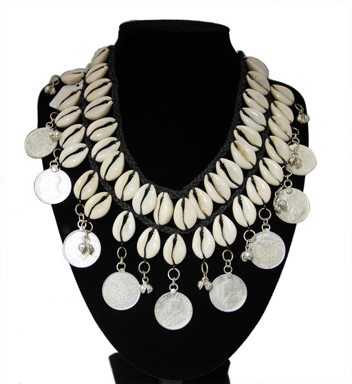 Belly Dance Necklace ~ Cowrie Shells & Coins