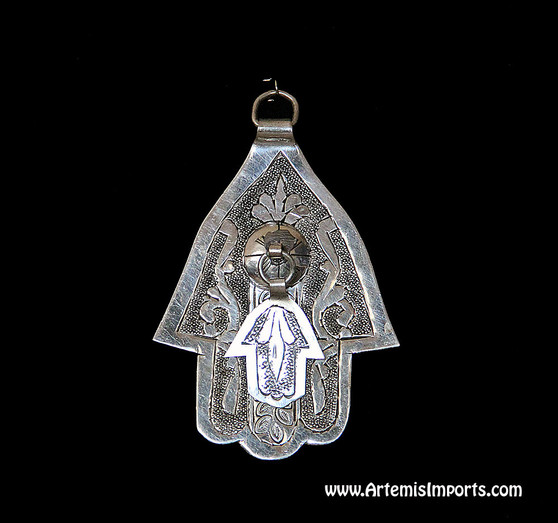 Hand of Fatima / Hamsa ~ Medium With Small Hand of Fatima Hanging From Center