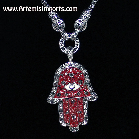 Silver Tone and Red Close-Up - Hand of Fatma / Hamsa Large Filigree Pendant Necklace with Rhinestones