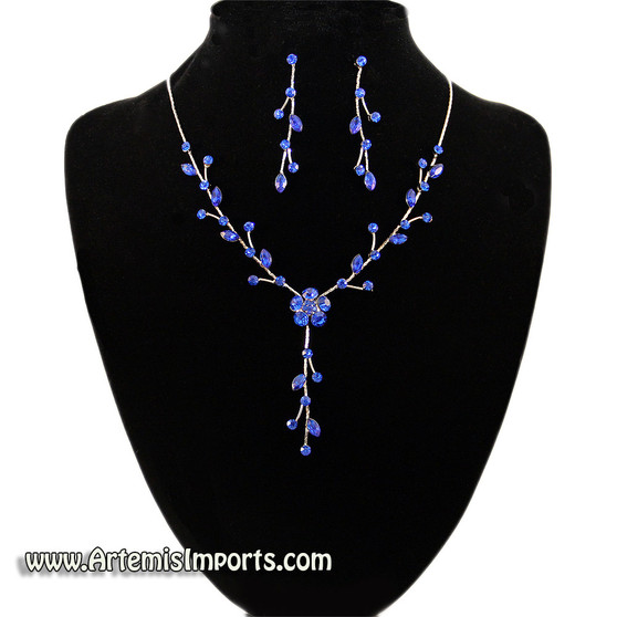 Belly Dance Necklace & Earring Set in Sapphire Blue Crystals