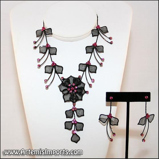 Belly Dance Necklace & Earrings in Black Wire & Fuchsia Rhinestones