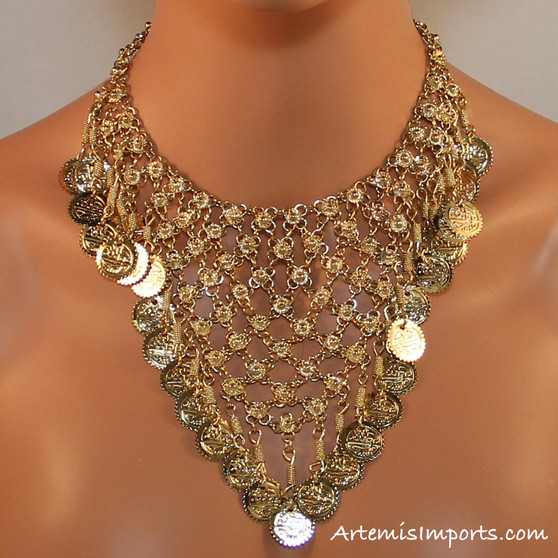 Filigree Design with Hanging Coins - Gold