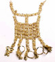 Belly Dance Slave Bracelet With An Ornate Design & Five Rings - Gold or Silver