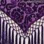 Burnout Velvet Hip Wrap With Beads, Tassels & Sateen Tie - Purple