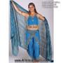 Lurex Stripe Chiffon Belly Dance Veil - Rectangle