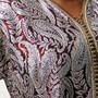 Vintage Caftan in Maroon and Silver Close-Up of Fabric