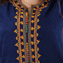 Vintage Caftan in Navy Blue with Yellow, Green Orange Trim from Morocco