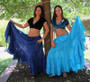 "Belly Dance / Tribal / Gypsy - Cotton 7 Yard Gypsy Skirt in Blue and Turquoise  - Lovely full 4 tier, 7-yard skirt is lightweight and comfortable. One size fits approximately size 4 to size 14. This skirt has an elastic waistband with drawstring to fit approximately 27"" to 46"" hip; length approximately 37"". Blue and Turquoise."
