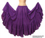 "Belly Dance / Tribal / Gypsy - Cotton 7 Yard Gypsy Skirt in Purple - Lovely full 4 tier, 7-yard skirt is lightweight and comfortable. One size fits approximately size 4 to size 14. This skirt has an elastic waistband with drawstring to fit approximately 27"" to 46"" hip; length approximately 37"". Purple"