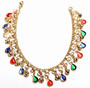 """Belly Dance Anklet with Binty Bells and Multi-Color """"Tear Drop"""" Shaped Stones in Gold Tone"""
