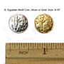 """Belly Dance / Tribal Coins for Costuming- Egyptian Motif Coin, 9/16"""", Gold or Silver.  Coins measures 9/16"""" in diameter and come in gold and silver."""