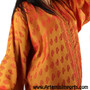 Vintage Caftan Orange, would make a nice cover-up for Belly Dance /Tribal dance sets (detail).
