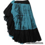 Belly Dance / Tribal Skirt - Cotton 7 Yard Gypsy Skirt in Tie Dye Turquoise and Black.