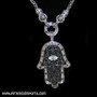 Silver Tone and Black Close-Up - Hand of Fatma / Hamsa Large Filigree Pendant Necklace with Rhinestones