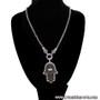 Silver Tone and Black - Hand of Fatma / Hamsa Large Filigree Pendant Necklace with Rhinestones