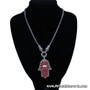 Silver Tone and Red - Hand of Fatma / Hamsa Large Filigree Pendant Necklace with Rhinestones