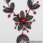 Belly Dance Necklace & Earrings in Black Wire & Red Rhinestone (Detail)