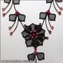 Belly Dance Necklace & Earrings in Black Wire & Fuchsia Rhinestones (Detail)