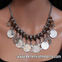 "Belly Dance Necklace - Amber Beads with""Antique Coins"""