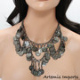 Belly Dance Necklace With Loops & Coins in Gunmetal Color