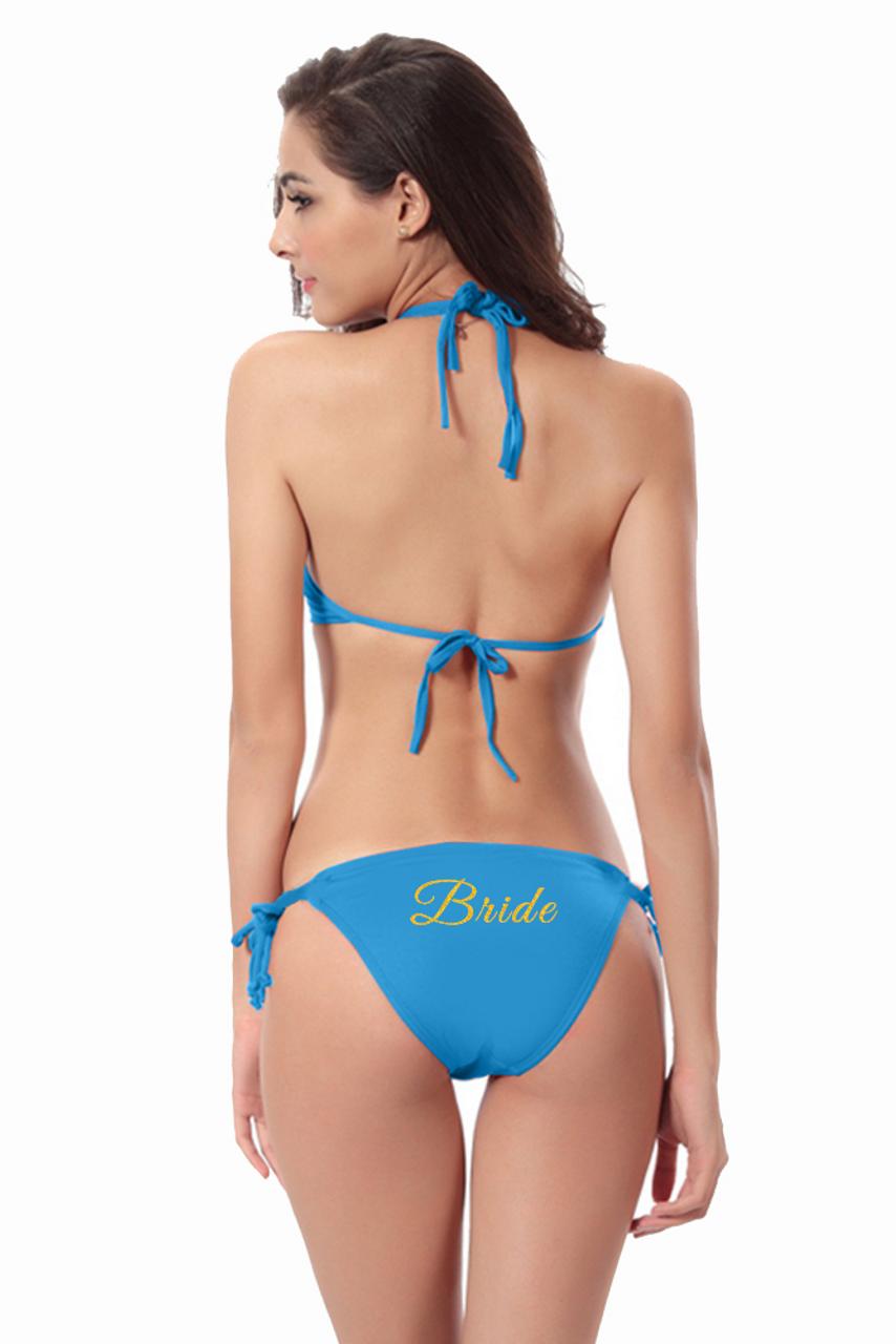 5f53389e259f9 Customized Bride on Triangle Top and String Bikini Bottom with Glitter  Print - Zynotti