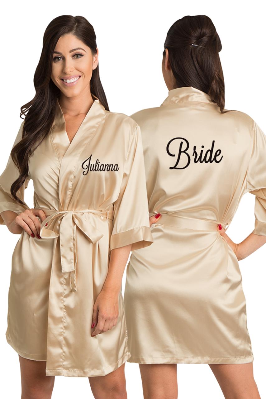 1bef9e146d Zynotti Personalized Embroidered Bride Satin Kimono Robe