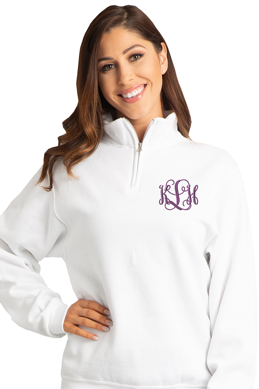 Zynotti Women s Personalized Custom Embroidered Monogram Quarter Zip White Pullover  Sweater 9a8e508bcc