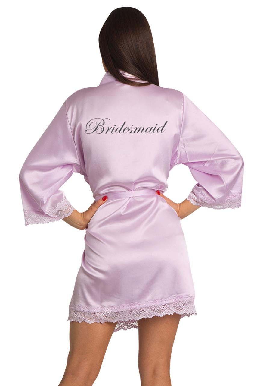 1e7460a82f Embroidered Bridesmaid Lavender Satin Robe with Lavender Lace Trim