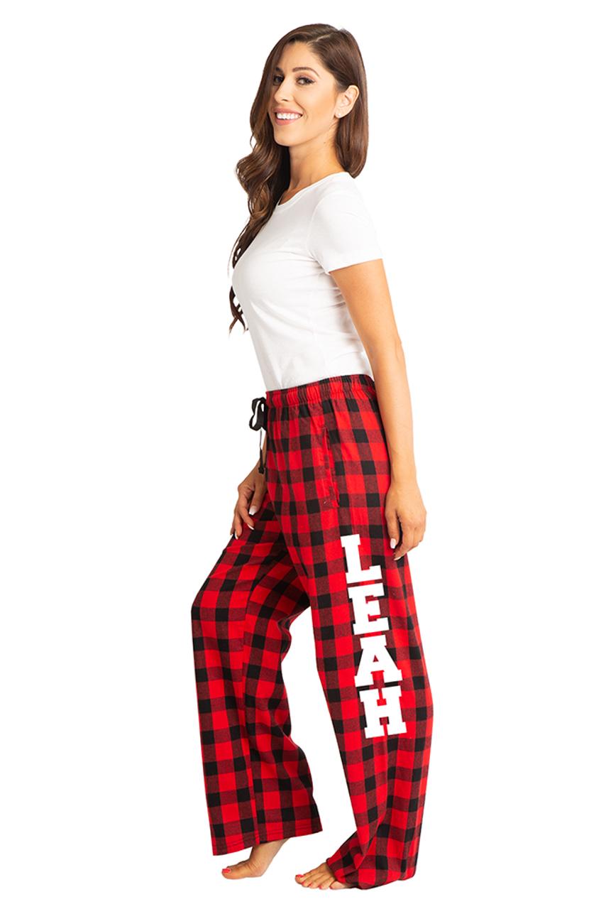 50bbd79101d Zynotti personalized custom print buffalo red plaid flannel pajama pants
