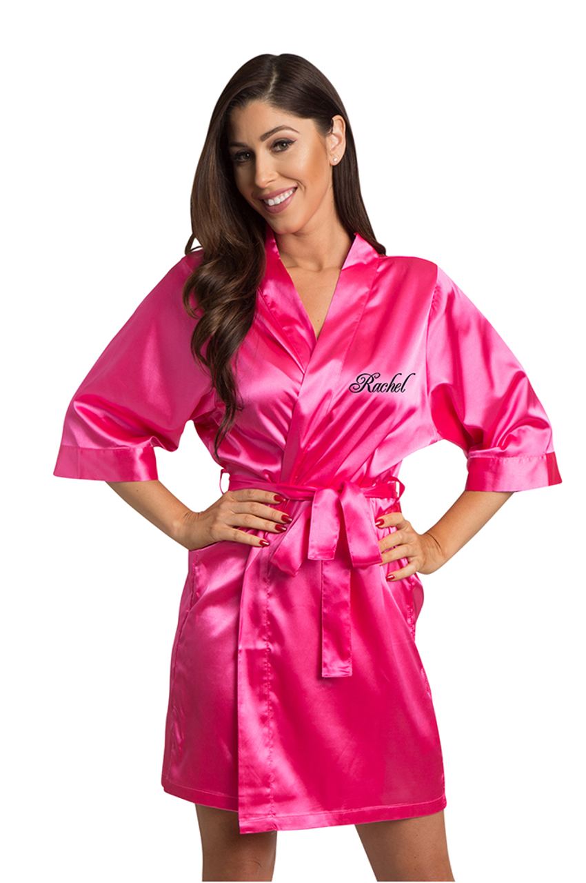 Personalized Embroidered Hot Pink Satin Robe Pink Embroidered Satin Robes Zynotti