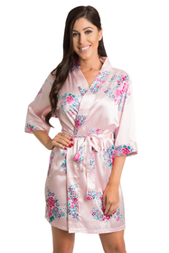 Floral Satin Kimon Robes - Available in 4 Colors