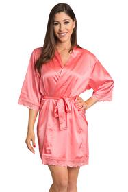 Zynotti Coral Lace Trimmed Satin Kimono robe