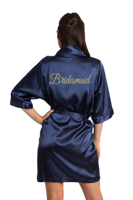 Gold Thread Embroidered Bridesmaid Satin Robe