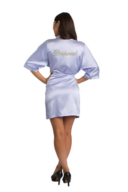 Gold Thread Embroidered Bridesmaid Satin Robe