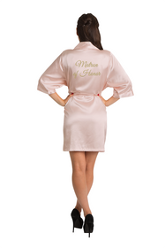 Zynotti Custom Embroidered Matron of Honor Satin Robe